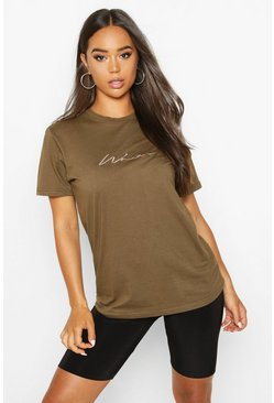 Womens Olive Woman Script Embroidered T-Shirt