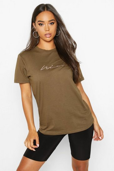 Olive Woman Script Embroidered T-Shirt