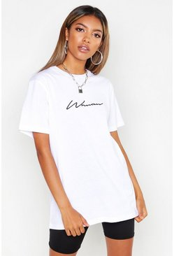 White Woman Script Embroidered T-Shirt