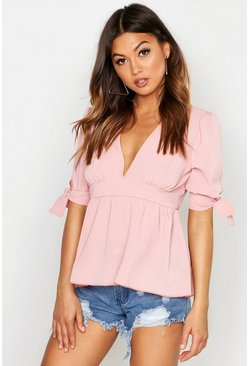 Womens Blush Woven Tie Sleeve Peplum Hem Top