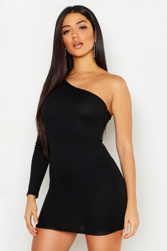 Womens Black Rib One Shoulder Bodycon Dress