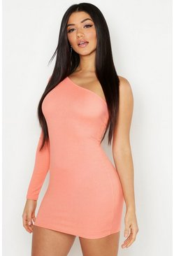 Womens Coral Rib One Shoulder Bodycon Dress