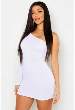 Womens White Rib One Shoulder Bodycon Dress