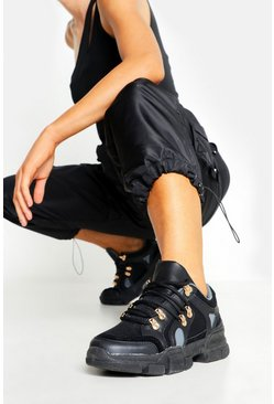 Womens Black Lace Up Chunky Hiker Sneakers