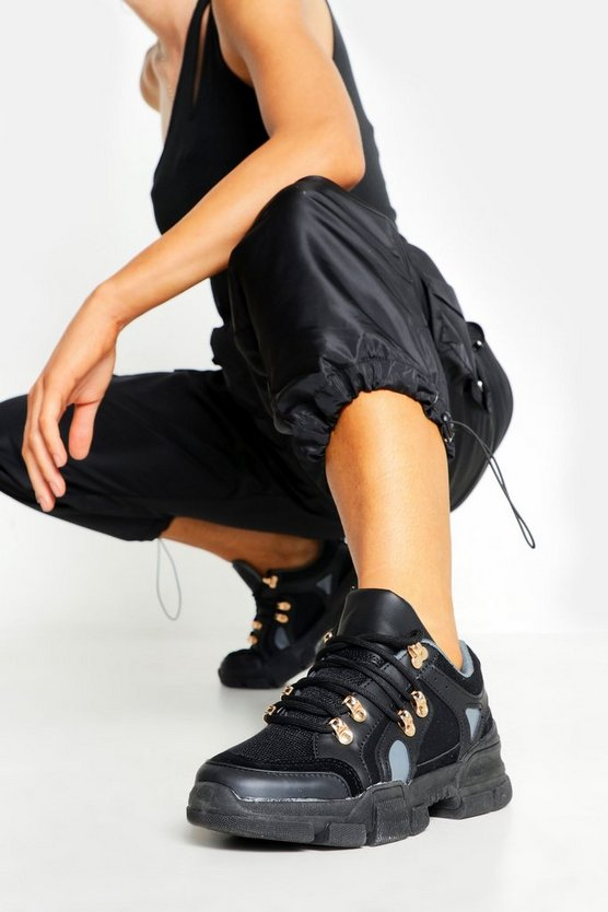 Womens Black Lace Up Chunky Hiker Trainers