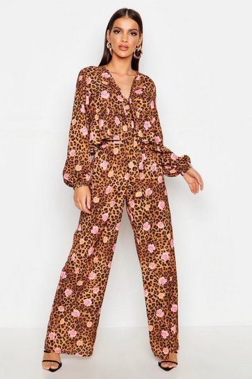 Womens Floral Leopard Wide Leg Trouser