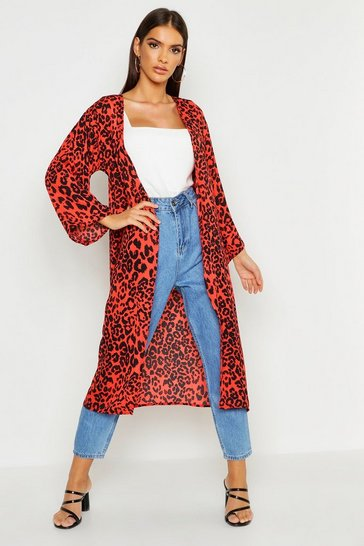 Womens Red Leopard Print Wide Sleeve Kimono