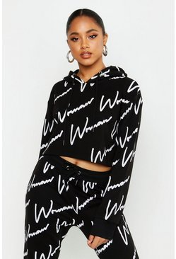Womens Black All Over Woman Print Crop Hoodie