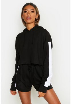 Womens Black Side Stripe Cropped Hoody Short Set