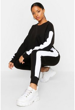 Womens Black Side Stripe Cropped Crew Neck Jogger Set