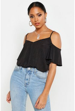 Womens Black Polka Dot Cold Shoulder Pleated Cami