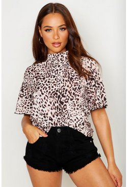 Womens Beige Woven Leopard Angel Sleeve Shell Top