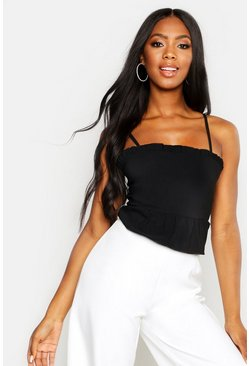 Womens Black Woven Stretch Square Neck Peplum Crop