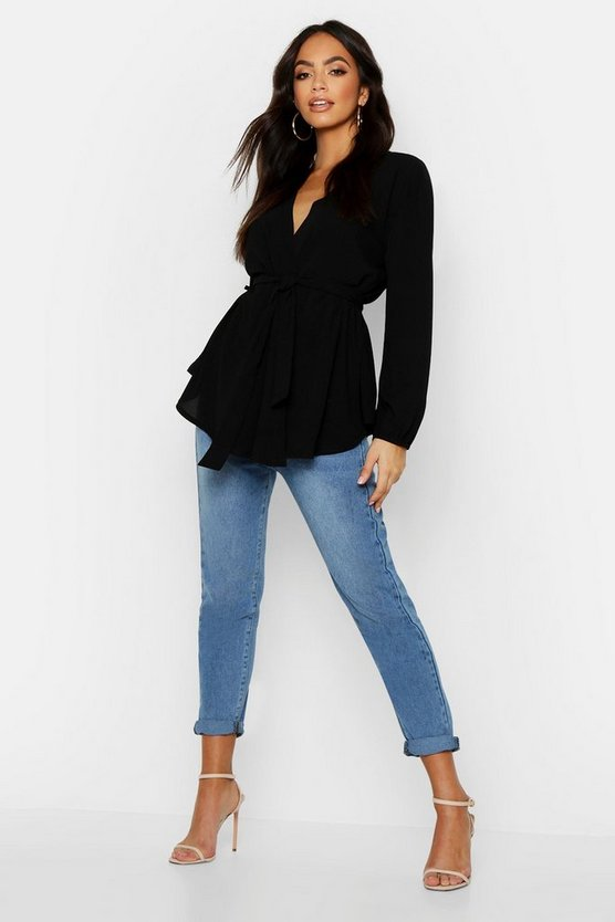 Womens Black Pastel Woven Wrap Top