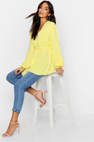 Womens Lemon Pastel Woven Wrap Top