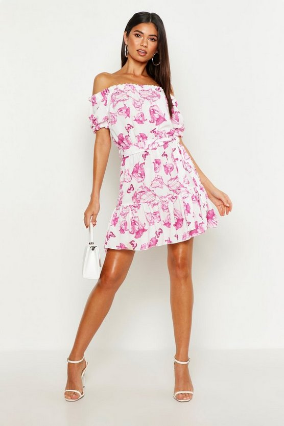 Womens Pink Woven Crepe Floral Bardot Dress