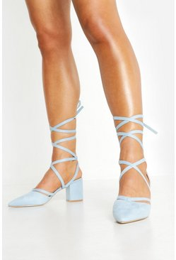 Womens Blue Pointed Toe Wrap Up Low Block Heels