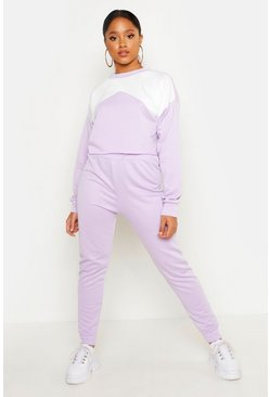 Womens Lilac Cropped Contrast Tracksuit