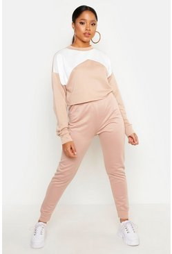 Womens Stone Cropped Contrast Tracksuit