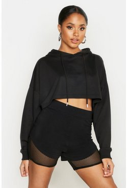Womens Black Boxy Crop Oversized Hoodie