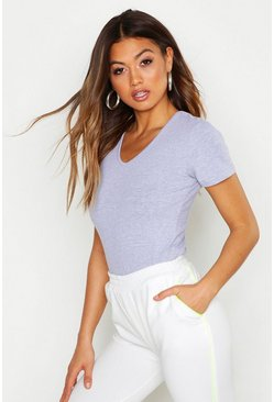 Womens Grey marl V Neck T-Shirt