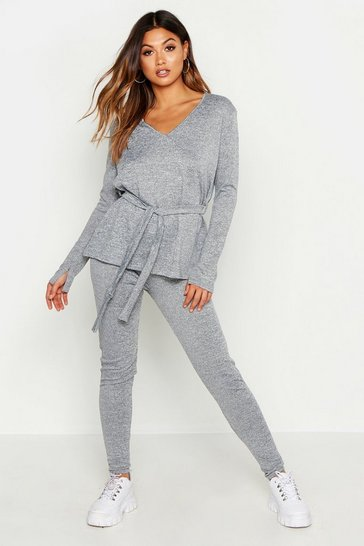 Womens Grey V Neck Slouchy Off The Shoulder Belted Knitted Set