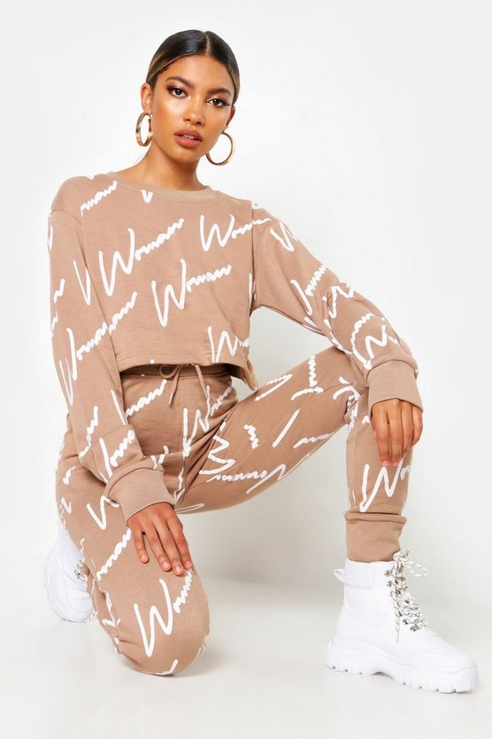 Woman All Over Print Crop Sweat Tracksuit by Boohoo