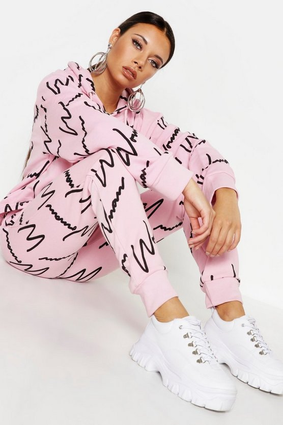 Woman All Over Print Hooded Tracksuit by Boohoo