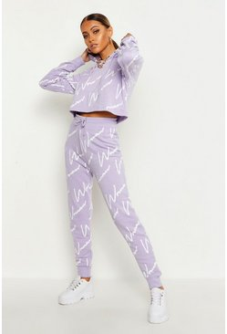 Womens Lilac Woman All Over Print Crop Hooded Tracksuit
