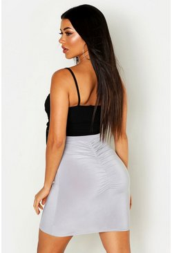 Womens Grey Slinky Ruched Bum Detail Mini Skirt