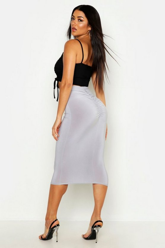 Slinky Ruched Bum Detail Midi Skirt by Boohoo