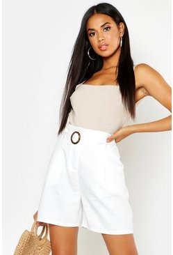 Womens Ivory O Ring Tailored City Shorts