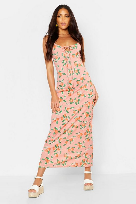Womens Pink Fruit Print Tie Detail Maxi Dress