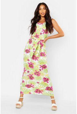 Womens Green Floral Palm Scoop Back Maxi Dress