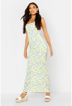 Womens Cornflower blue Lemon Ruffle Detail Maxi Dress