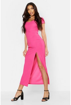 Hot pink Cap Sleeve Maxi Dress