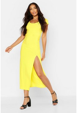 Womens Yellow Cap Sleeve Maxi Dress