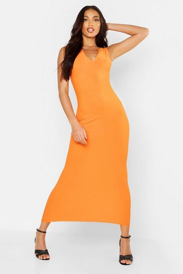 Womens Orange Notch Neck Maxi Dress
