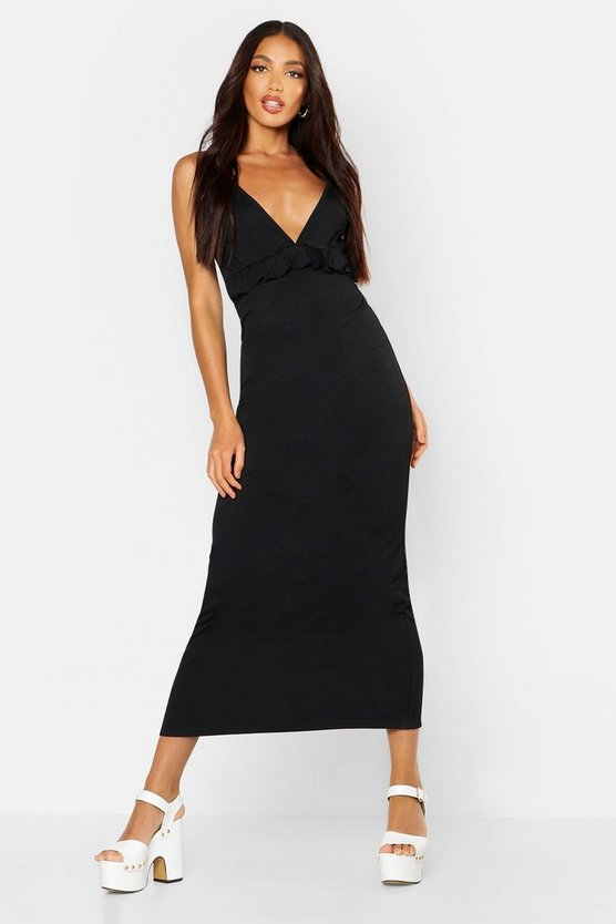 Black Jersey V Neck Ruffle Maxi Dress