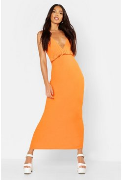 Orange Jersey V Neck Ruffle Maxi Dress