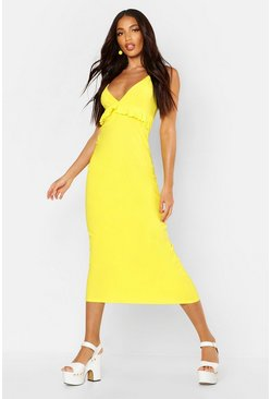 Yellow Jersey V Neck Ruffle Maxi Dress