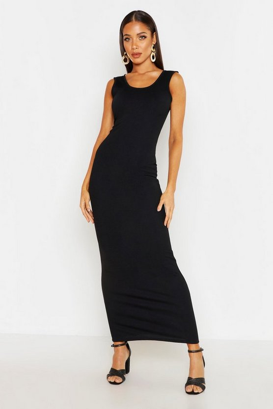 Womens Black Scoop Neck Maxi Dress