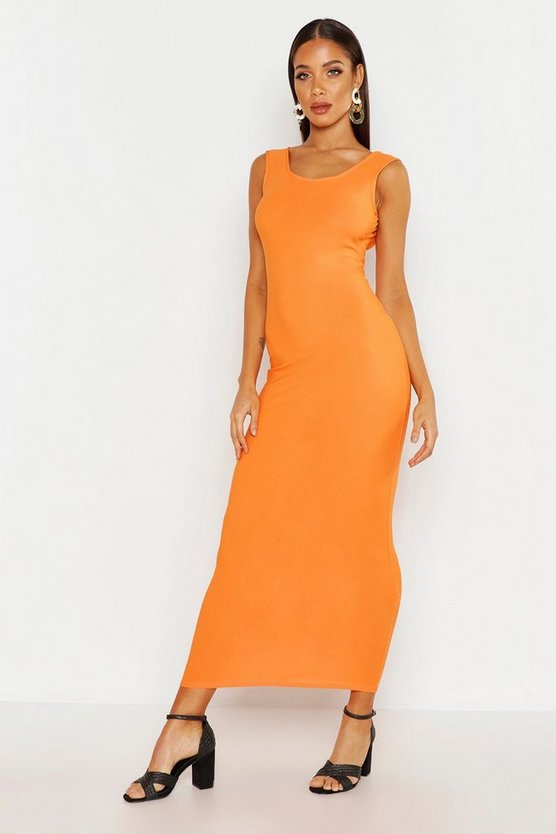 Womens Orange Scoop Neck Maxi Dress