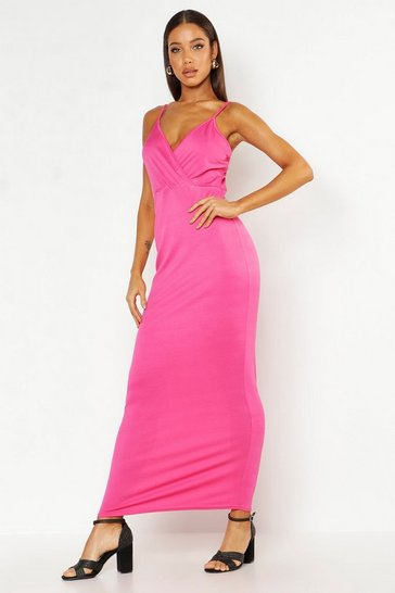 Womens Hot pink Wrap Front Maxi Dress