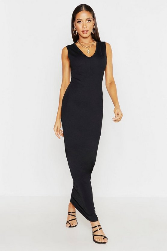 Womens Black V Front Maxi Dress