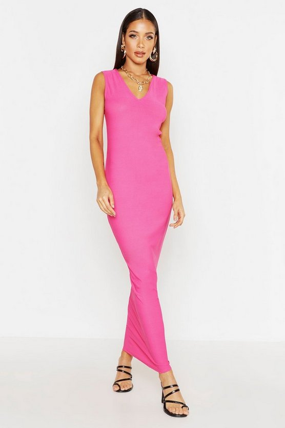 Womens Hot pink V Front Maxi Dress