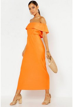 Orange Bardot Ruffle Maxi Dress