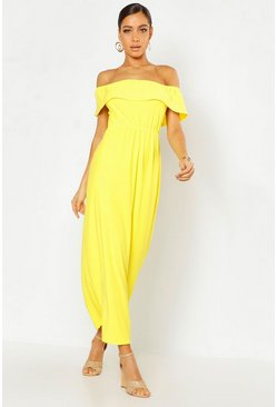 Yellow Bardot Ruffle Maxi Dress