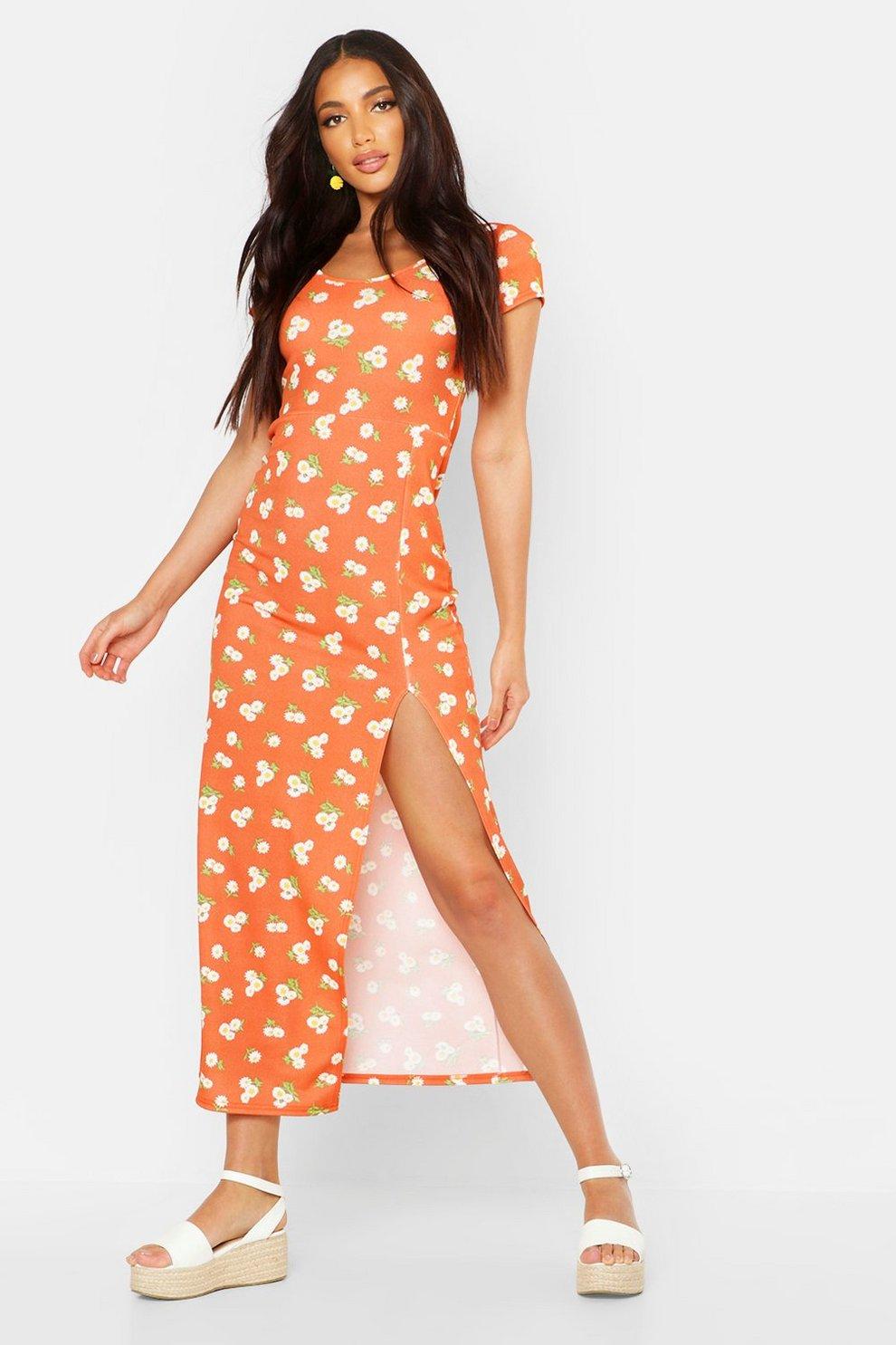 de23a369aae Large Scale Floral Cap Sleeve Maxi Dress