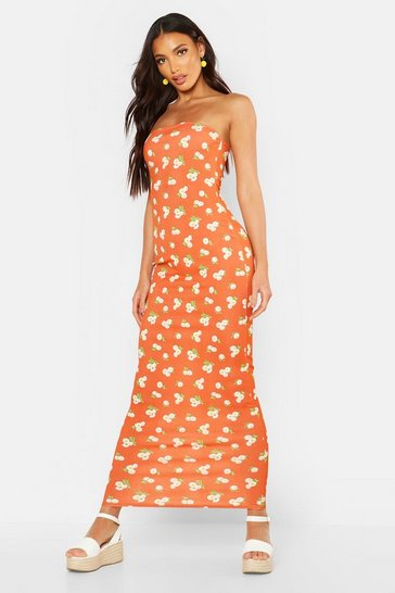 Orange Bandeau Large Scale Floral Maxi Dress